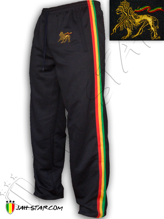 Pant Rasta Rock Reggae Lion Of Judah Bob Marley Logo Embroidered