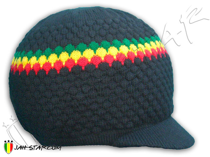 Beanie Rasta Roots Reggae Jamaica Cap Hat Peace & Love Dreadlocks Visor